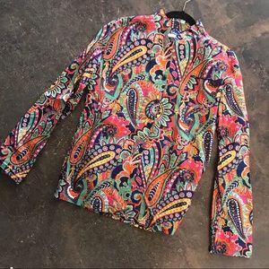 Vera Bradley Paisley Colorful Button Up Shirt S